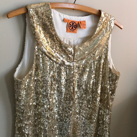 e90f526681e6 Tory Burch Dresses | Gold Sequin Sleeveless Dress | Poshmark